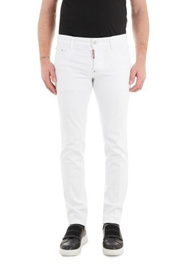 Dsquared2  Slim Fit Cepli Pamuklu Jeans Erkek Kot Pantolon S74Lb0936 S39781 100 Beyaz